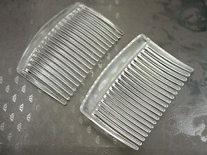 20 Clear Plastic Smooth Hair Clips Side Combs Pin Barrettes 66X44mm for Ladies