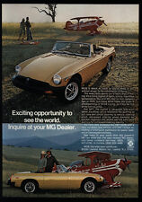 1977 MG MGB Convertible Sports Car & Bi-Plane Airplane -See The World VINTAGE AD