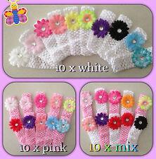10  x bulk white  Cute Baby Girls  Flower Hairbow  Crochet Headbands Hair set
