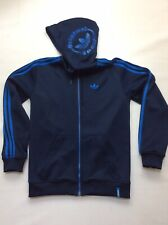 Adidas Originals Mens Trefoil Zip Hoodie Navy Blue Track Jacket Size Uk Small Vg