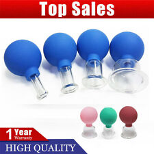 Set 4 Cups Anti-Cellulite Facial Cosmetic Cupping Massage Vacuum Glass Cups PB