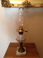 "Antique Brass Marble Base Converted To Electric 18 1/2"" Oil Lamp"