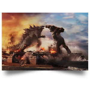 Godzilla vs King Kong Moster Fight Movies Art Print Decor Home Poster Full Size