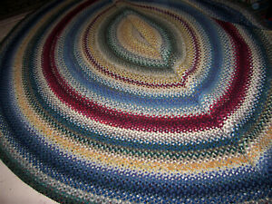 """Vintage Large Antique Hand Made Oval Wool  Braided Rug 11""""2 X 13"""""""