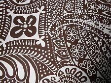 Showroom banner Schumacher printed linen cotton fabric Paisley espresso white