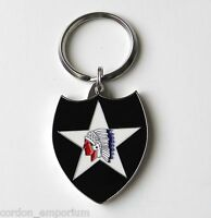 US ARMY 2nd INFANTRY DIVISION ENAMEL KEY RING CHAIN KEYRING KEYCHAIN1.5 INCHES