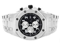 Men's Jewelry Unlimited Solid White Gold Steel Black Dial Chronograph Watch