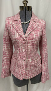 Pendleton Pink White Tweed Blazer Suit Jacket Lined Matching Material Buttons 6