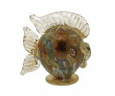 Scultura Pesce Murrine Foglia Oro Colezione Vetro di Murano Made in Italy