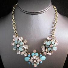 NEW Urban Anthropologie Blazie Dasie Light Blue Gemmed Goldtone Necklace