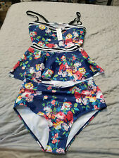 NWT Marinavida Swimsuit Two Piece High Waisted Bottom Floral Size Med