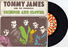 "TOMMY JAMES AND THE SHONDELLS CRIMSON AND CLOVER RARE RECORD ITALY 7"" PS"
