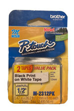 Brother P Touch M 2312pk Label Tape 12 Black On White 2 Pack