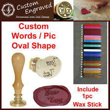 OVAL SHAPE Wax Seal Stamp Custom Made Your Design Logo Words + 1 Wax Stick