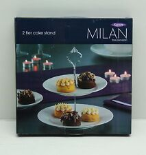 New Rayware Milan 2 Tier Porcelain Cake Stand Food Party Table Top Display White