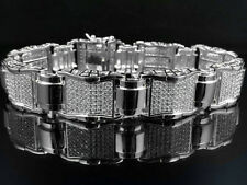Men's White Gold Finish Over Brass Lab Diamond Puzzle Statement Bracelet