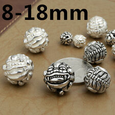 Sterling Silver Good Fortune Pixiu Round Ball Beads Bracelet Pi Xiu Kylin Beads
