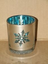 BLUE MERCURY GLASS SNOWFLAKE VOTIVE HOLDER NWTS