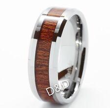8mm Men's Tungsten Carbide Wood Inlay Beveled edge Wedding Band Ring Size 8-12