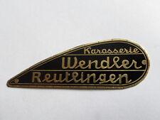Typenschild Wendler Karosserie Porsche Gutbrod Benz Schild Plakette Messing S9 R