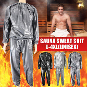 L-4XL Heavy Duty Sweat Sauna Suit Gym Fitness Exercise Fat Burn Weight Loss US