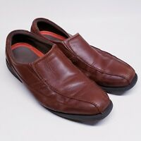 Mens Size 13 Rockport SL2 Style Leader 2 Bike Toe Slip-On Brown Leather Shoes