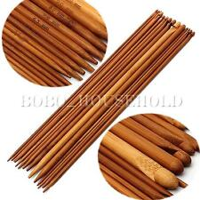 "14Pcs 35cm 14"" 3-10mm Bamboo Both Crochet Hook + Knitting Needle Tunisian Craft"