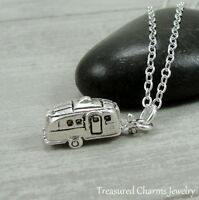Silver Camper RV Charm Necklace - Motor Home Airstream Camping Jewelry NEW