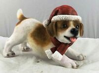 Puppy Dog with Christmas Themed Merry Xmas Santa Hat Pet Ornament Figurine