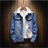 Men's  Winter Fleece Lined Warm Coat Denim/Jean Fur Jacket