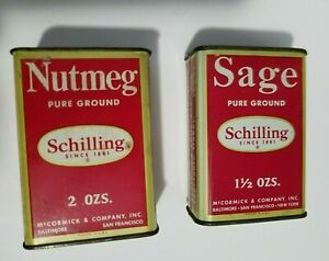 Vintage 1950 SCHILLING McCormick Sage and Nutmeg Spice Tin Red & Gold
