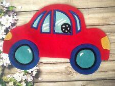 "Fun Rugs Red Car Shaped VW Bug Beetle Rug Kids Boys Play Room 21"" x 32"" Nylon"