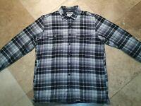 LL Bean Fleece Lined  Long Sleeve Pockets Button Shirt Cotton Plaid Gray L Tall