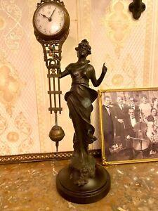 schöne alte MYSTERIEUSE, Schwingpendel-Uhr / Figuren-Uhr Junghans