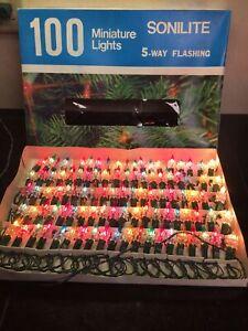 Vintage Star Prism Crystal Christmas Lights Flower 100 Plug-in  Reflectors