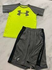 Boys Under Armour outfit Neon Yellow and Gray Shorts shirt nice Ymd 10-12