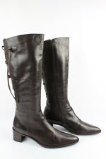 Boots Tips Pointed Lace Leather Brown Dark T 38,5>39,5 Very Good Condition