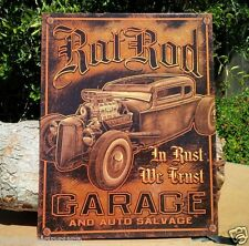 RAT ROD GARAGE AUTO SALVAGE Collectible Tin Metal Classic Sign Poster Shop