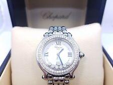Steel Custom Diamond Watch Chopard Happy Sport Round Stainless