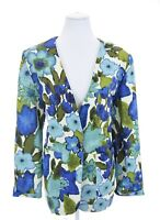Vtg Made Especially for you by Claudya Blue Floral Blazer Jacket Women Sz XL 16