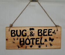 Bug & Bee Insect Hotel Sign Plaque Garden Hide Shed Nature Patio Wildlife Birds