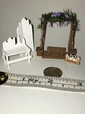 1:48 Scale Doll House Artisan Made Gazebo W/ Plants, Welcome Sign, Bench, LOOK