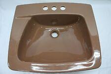 """(BS-1) NOS Eljer Cocoa Brown Retro Bathroom 19"""" Sink 051-3334 Kathy 4"""" U.P."""