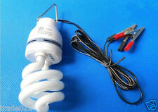 DC12V 18W CFL Florescent Lamp Light Bulb + Battery Clamp