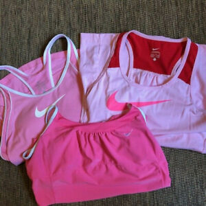 Nike Dri-Fit Tank Tops Lot of 3 Training Athletic Workout Pink/White Size Large