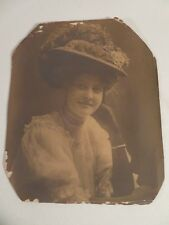 Vintage Antique Victorian Women's Fashion Photograph Stylish Hat Gibson Sykes
