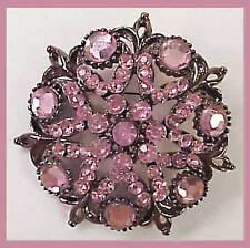 LARGE PINK RHINESTONE Brooch PIN Jewelry Vintage Silver Tone Showy Piece Gift