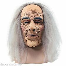 Halloween Horror Creepy Wrinkly Old Man Mask Grey Hair Wig Fancy Dress Costume