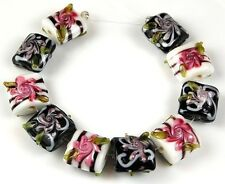 Lampwork Glass Beads Handmade Black White Pillow Flower Loose Jewelry Spacer