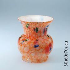 Glas Vase Böhmen Farbkrösel hellrot Innenfang Opalglas H=14,6 cm Art Deco #225